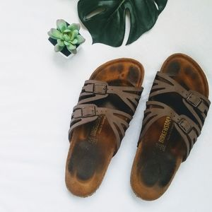 Birkenstock Granada Footbed Leather Sandals Brown